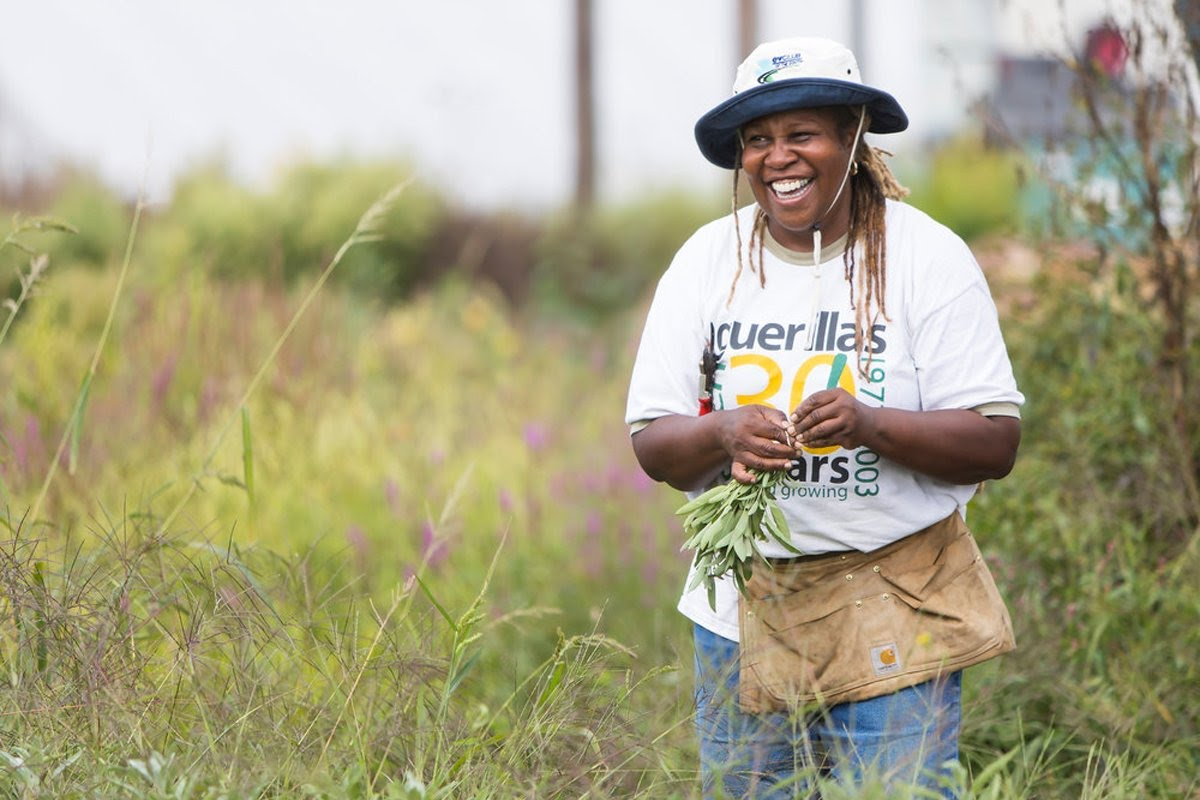 Karen Washington in her urban farm. Photo courtesy of Bioneers.